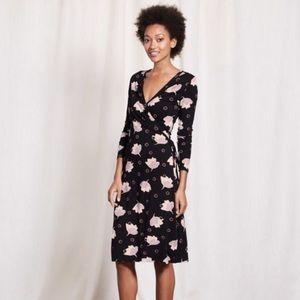 Boden Floral Jersey Wrap Dress Size 6
